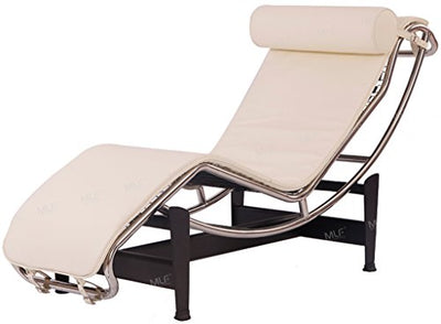 MLF Le Corbusier Style Chaise Lounge Chair, Top Grain White Aniline Leather