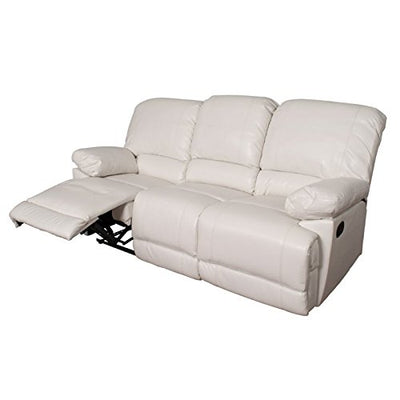 Atlin Designs Bonded Leather Reclining Sofa in White