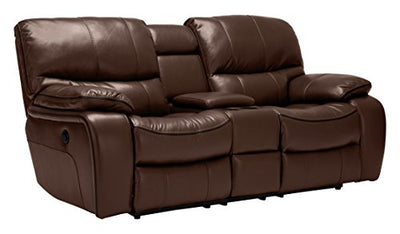 Roundhill Furniture Ewa Leather Air Reclining Loveseat, Brown