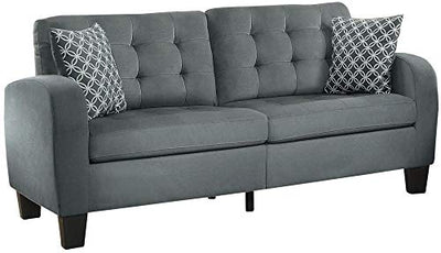 Sigmond Casual Button Tufted Sofa in Grey Fabric