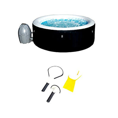 Skroutz Hot Tubs Inflatable 4 Person + 3 Piece Cleaning Tool Set Black Digitally Controlled