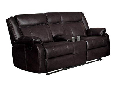 Jakes Double Glider Reclining Love Seat with Center Console in Airehyde Dark Brown Leather
