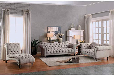 Stella French Button Tufted Love Seat in Neutral Beige Fabric