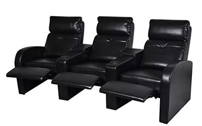 New Black 3-Seater Sofa 89.4 x 33.5 x 40.6 Inch Wooden Frame Artificial Leather Upholstery Home Cinema Recliner SKB Family