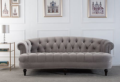 Jennifer Taylor Home La Rosa Collection Chesterfield Style Diamond Tufted Velvet Upholstered Living Room Sofa Rolled Back, Wooden Legs Nailhead Trim, Opal Gray