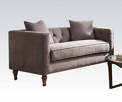 Acme Furniture ACME Sidonia Gray Velvet Loveseat with 2 Pillows