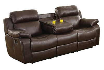 Manque Double Reclining Sofa with Drop-Down Cup Holders in Dark Brown Leather