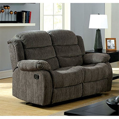 Furniture of America Enrique Fabric Reclining Loveseat in Gray