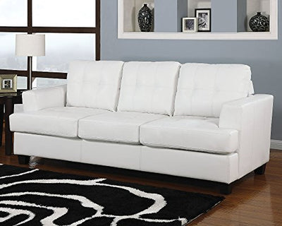 Acme Platinum Sofa w/Queen Sleeper, White Bonded Leather White Bonded Leather/Contemporary/Casual
