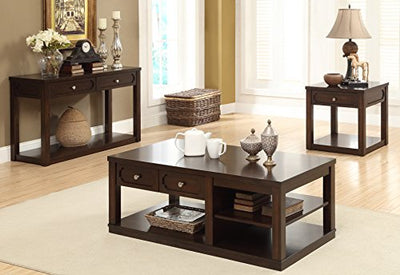 247SHOPATHOME IDF-4636C Eleverman Coffee Table, Brown Cherry