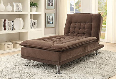 Lyell Fold-Down Futon Bed Chaise Lounge in Microvelvet Upholstery