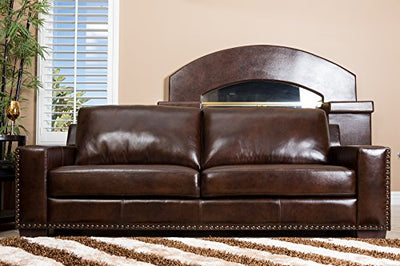 Abbyson® Beverly Hand Rubbed Leather Sofa, Brown
