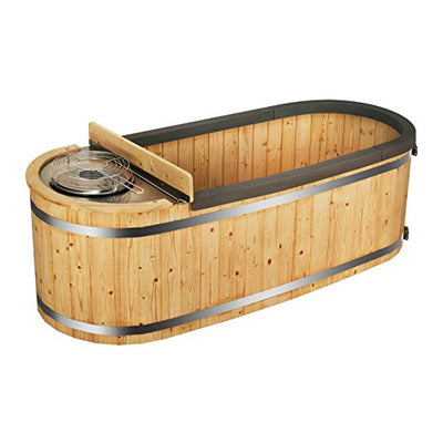 ALEKO HT2PIN 2 Person Natural Pine Hot Tub with Charcoal Stove Boiler in Natural Pine 500 Liters