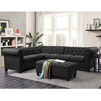 Coaster Home Furnishings 500292 Living Room Sofa Sectional, Grey/Black