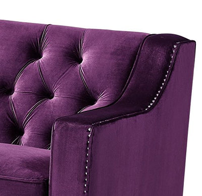 Inspired Home William Velvet Modern Contemporary Button Tufted Lucite Acrylic Legs Sofa, Purple