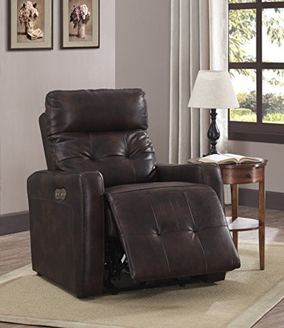 AC Pacific Anna Collection Contemporary Leather Upholstered Electric Recliner Chair With Adjustable Headrest, Tufting and Low Arms, Brown
