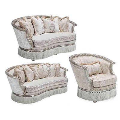 Aico Amini Giselle Wood Trim Love Seat with Rounded Back in Platinum by French Victorian European