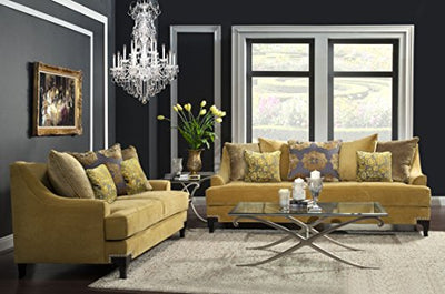 Furniture of America Argenie Fabric Upholstered Sofa, Gold