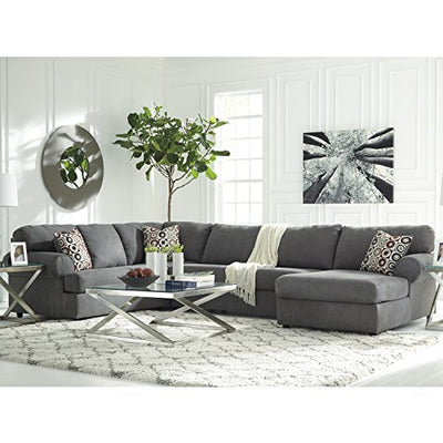 Flash Furniture Signature Design Ashley Jayceon 3-Piece LAF Sofa Sectional in Steel Fabric