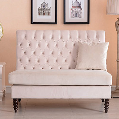 Eight24hours Velvet Modern Tufted Settee Bench Bedroom Sofa High Back Love Seat - Beige + FREE E-Book