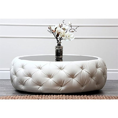 Abbyson Living Royala Leather Round Coffee Table in White