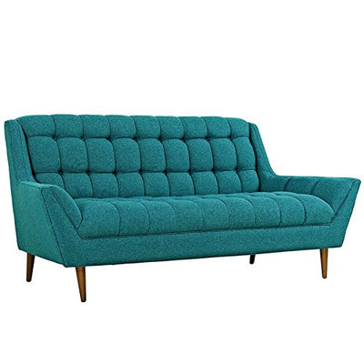 Modway Response Mid-Century Modern Loveseat Upholstered Fabric in Teal