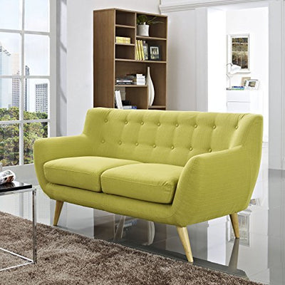 Modern Contemporary Loveseat, Green Fabric