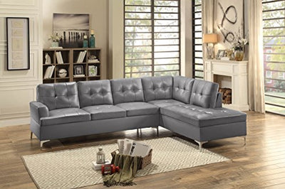 "Homelegance Barrington 109"" Faux Leather Upholstered Sectional Sofa with Chaise, Gray"