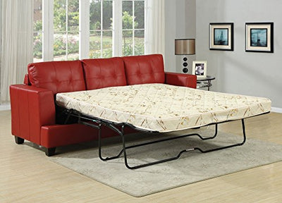 Acme Platinum Sofa w/Queen Sleeper, Red Bonded Leather Red Bonded Leather/Contemporary/Casual
