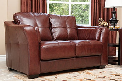 Abbyson Living Crimson Italian Leather Loveseat, Burgundy