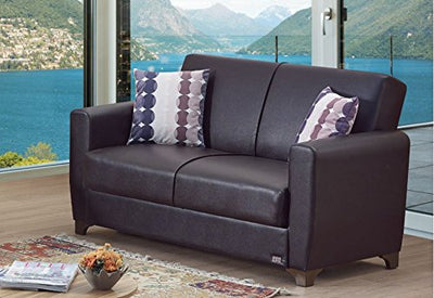 BEYAN Queens Collection Upholstered Convertible Loveseat with Easy Access Storage Space, Includes 2 Pillows, Dark Brown