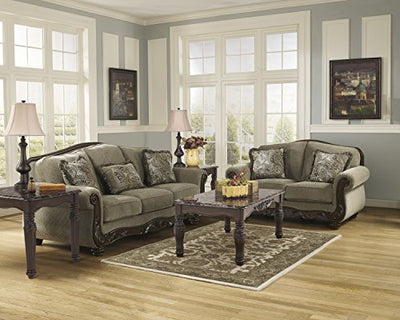 Ashley Furniture Signature Design - Martinsburg Loveseat Sofa - Traditional Style Couch - Meadow with Brown Base