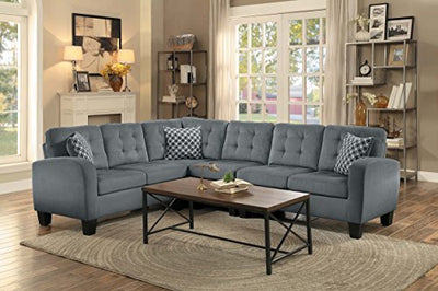 Homelegance Sinclair L-Shaped 2-Piece Sectional Sofa with Tufted Accents and Three Geometric Pattern Toss Pillows, Grey