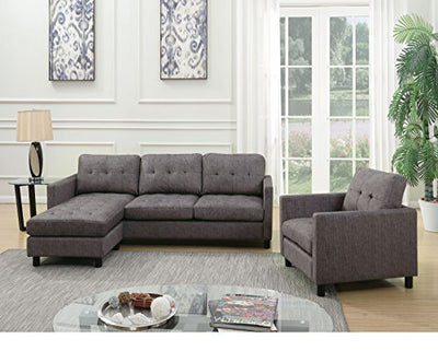 ACME Ceasar Gray Fabric Sectional Sofa with Reversible Ottoman