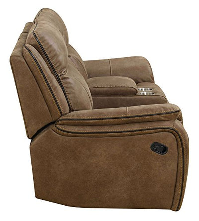MStar Cameron Lay Flat Dual Reclining Loveseat with Storage Console, USB Charging Ports, AC Outlets and Memory Foam Seat Topper