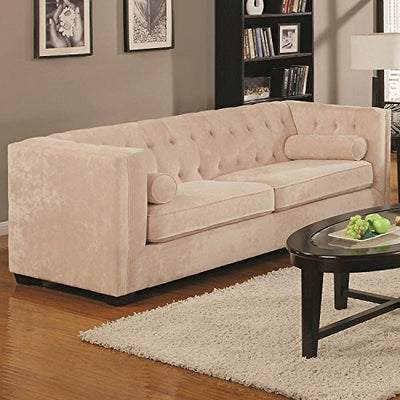 Coaster Alexis Transitional Chesterfield Sofa with Track Arms, Almond