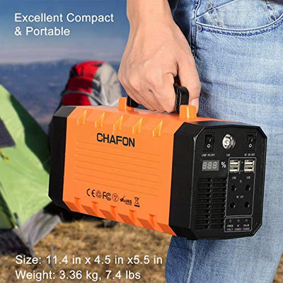 346WH Portable UPS Battery Backup Generator,Rechargeable Power Source Inverter with 110V/500W AC Outlet,12V Car,USB Output,Car Jump Starter for Camping -Orange