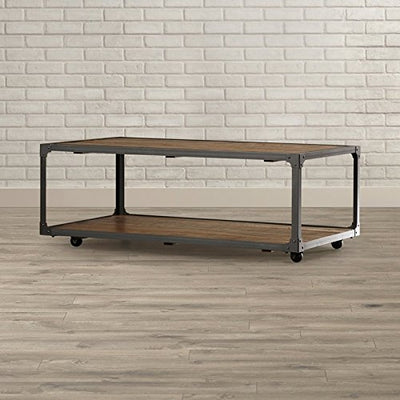 Add This Rustic Style Coffee Table Made of Solid Manufactured Wood and Iron With Rustic Medium Brown Finish Take a Coffee Break Now