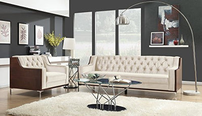 Iconic Home Clark Club Sofa Button Tufted Velvet Wood Frame with Polished Metal Legs Couch, Modern Contemporary, Cream
