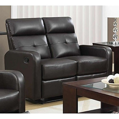 Monarch Specialties I 85BR-2 Reclining Love Seat in Brown Bonded Leather