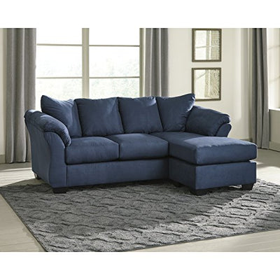 Flash Furniture Signature Design by Ashley Darcy Sofa Chaise in Blue Microfiber