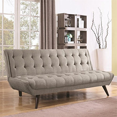 Natural Greige Tufted Sleeper Sofa in Dove Gray