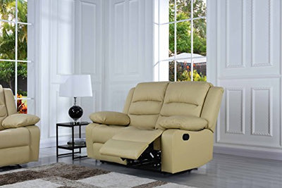Divano Roma Furniture Traditional Classic Reclining Sofa Set - Real Grain  Leather - Double Recliner, Loveseat, Single Chair (Beige)