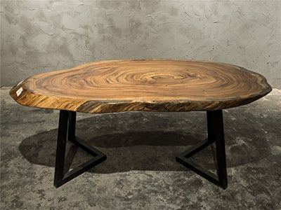Highly Figured Ebony Wood Natural Live Edge Solid Slab Coffee Table Set With Iron Stands E03