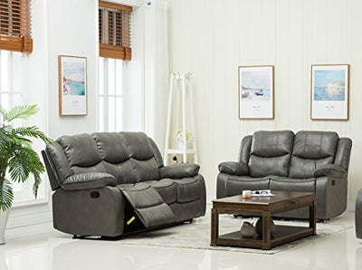 "Container Furniture Direct S6039-S Royal Albert Faux Leather Upholstered Gliding Reclining Sofa, 81"", Grey"
