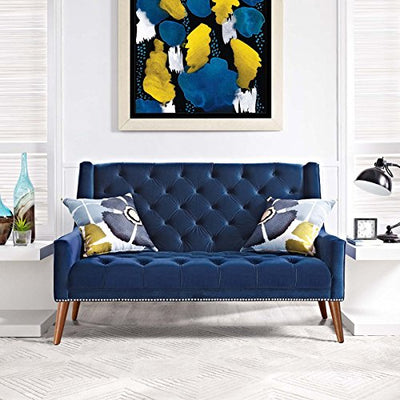 Modway Peruse Upholstered Modern Tufted Loveseat With Nailhead Trim in Navy Velvet