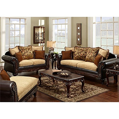 Furniture of America Allissa Faux Leather Sofa in Espresso