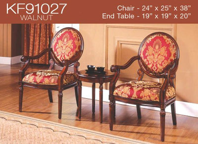 3 Pcs Traditional Living Accent Chair Set (2 Colors) (KF91027 - Walnut)