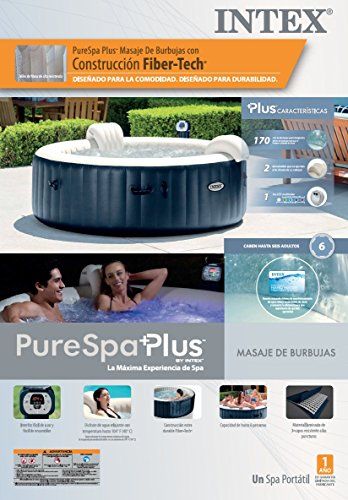 Intex Blowup Hot Tub + Headrest + Cup Holder/Tray + Seat + 2 Filter Cartridges