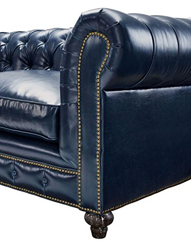 Tov Furniture The Durango Collection Rustic Style Living Room Parlor Den Bonded Leather Upholstered Button Tufted Sofa, Blue
